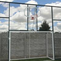 Ворота для минифутбола или гандбола 3000х2000 стальные  с баскетбольным щитом 900*680 из оргстекла и корзиной