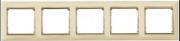 Рамка 5-місцева універсальна (горизонт/вертик), слонова кістка / золотий штрих, Legrand Valena Легранд Валена