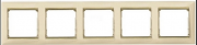 Рамка 5-местная универсальная (горизонт/вертик), слоновая кость / золотой штрих, Legrand Valena Легранд Валена