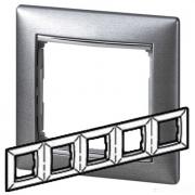 Рамка 5-местная универсальная (горизонтальная / вертикальная), алюминий матовый, Legrand Valena Легранд Валена