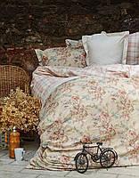 Cтеганный комплект постельного Karaca Home - Carina бежевый ранфорс евро