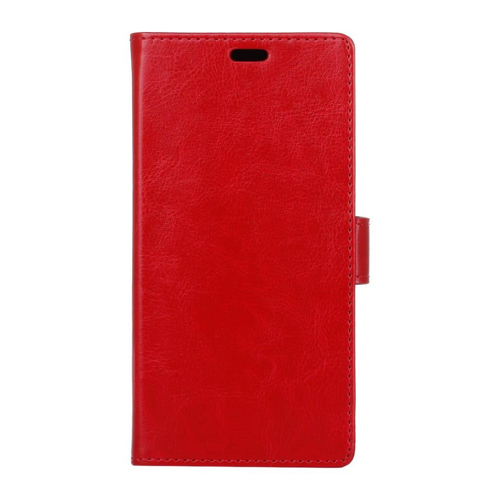 Чехол книжка для Huawei P10 Plus боковой с отсеком для визиток, Гладкая кожа, красный