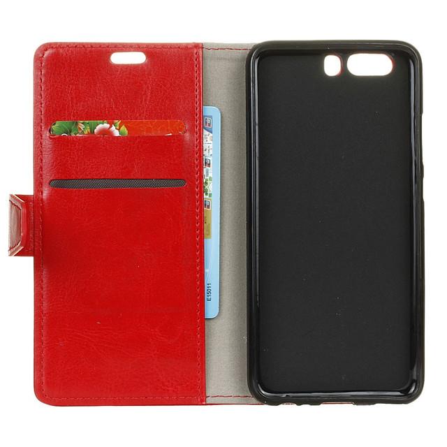 чехол книжка на Huawei P10 plus гладкая кожа красный
