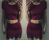 Костюм летний  топ+ юбка с французским кружевом (3 цвета)
