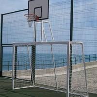 Ворота минифутбольные и гандбольные (с полосами) с баскетбольным щитом 900*680 из фанеры, простой корзиной