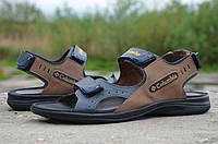 Мужские кожаные сандалии Columbіa 12117 сине-коричневые