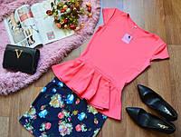 Костюм летний  кофта-баска+ юбка с цветочным принтом (7 цветов)