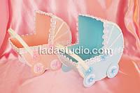Коляски свадебные для сбора денег на сына или дочку, цвет голубой и розовый