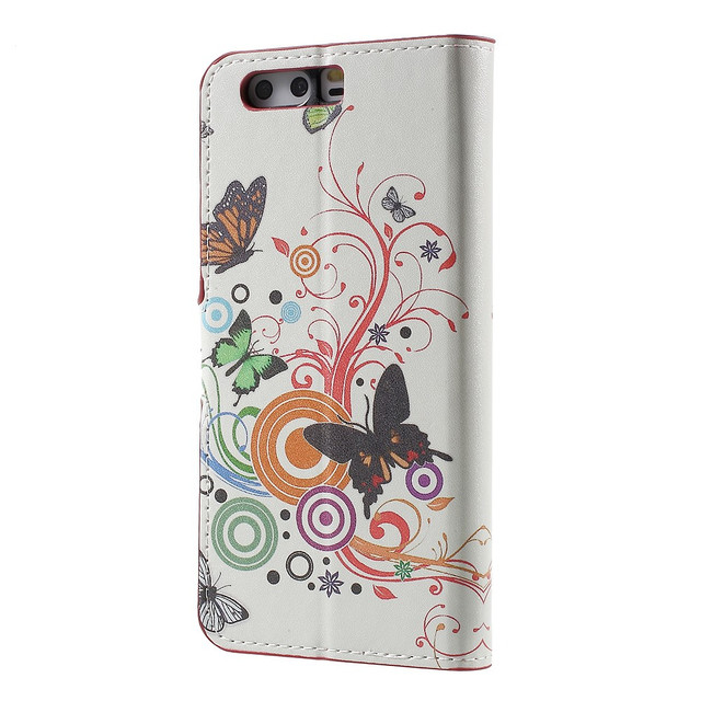 чехол книжка на Huawei P10 plus Butterflies and Circles
