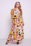 Женское желтое платье большого размера с принтом МАЙЯ ТМ Таtiana 56-60 размеры
