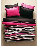 Комплект постельное + плед вязаный Karaca Home - Thin фуксия евро