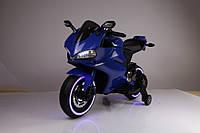 Детский мотоцикл Honda M 3467 EL-4 с кожаным сиденьем, свет колёс, синий