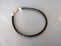 Браслет кожаный плетеный (3.0 мм, черный)