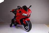 Детский мотоцикл Honda M 3467 EL-3 с кожаным сиденьем, свет колёс, красный