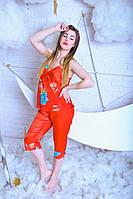 Сатиновый женский комплект с бриджами