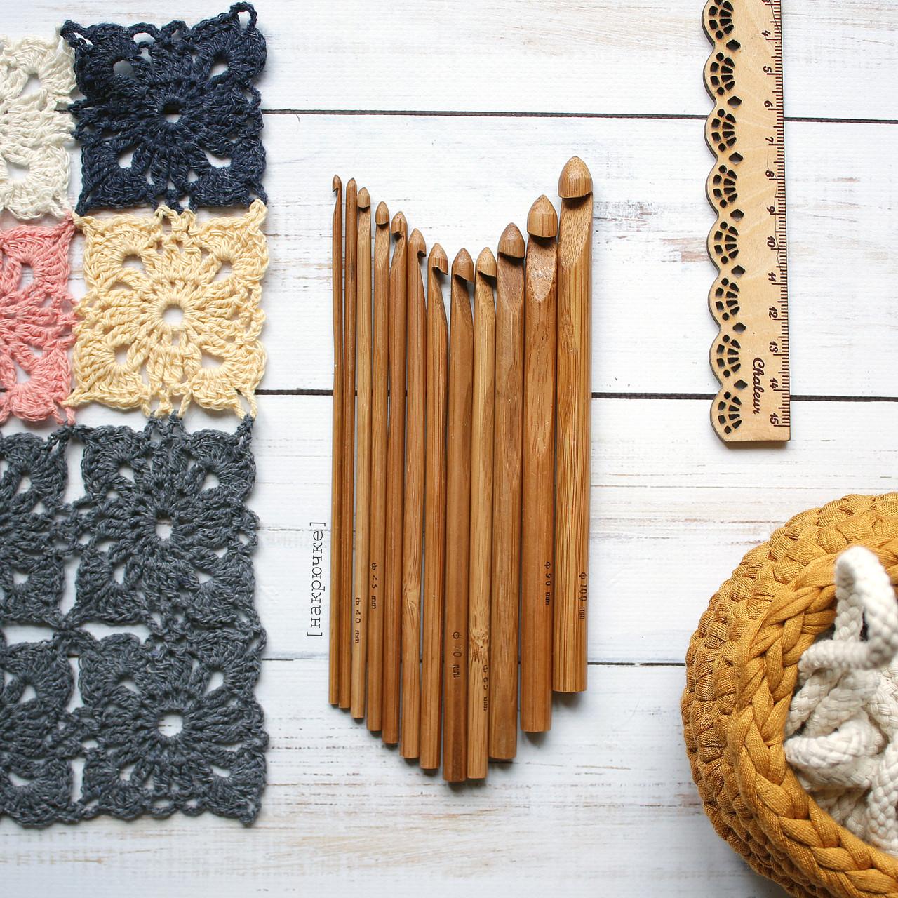 Крючки для вязания бамбуковые, 12 шт