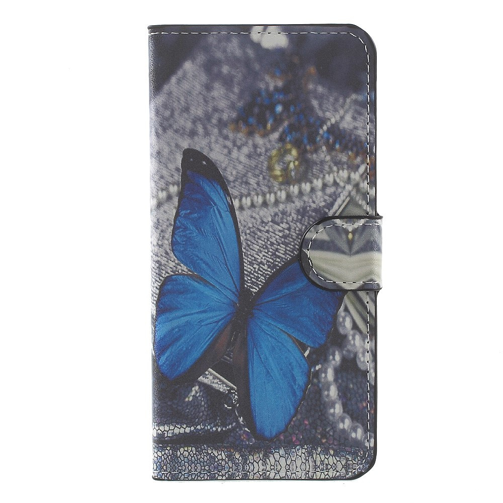 Чехол книжка для Huawei P10 Plus боковой с отсеком для визиток, Голубая бабочка