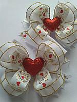 Американський білий бант Серце з репсової стрічки на подарунок дівчинці, фото 1