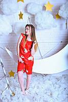 Модный сатиновый женский комплект с бриджами