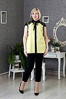 Женская блуза со сьемным бантом под воротником