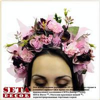 Веночек на голову, венок из цветов, обруч сиреневые Розы. Handmade