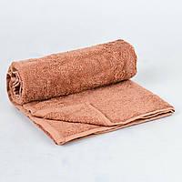 Банное махровое полотенце однотонное Туркменистан 70х140 плотность 500гр/м2 Светло-коричневое (B1-19-R)
