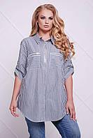 Батальная женская серая рубашка БЛУ ТМ Таtiana 54-60 размеры