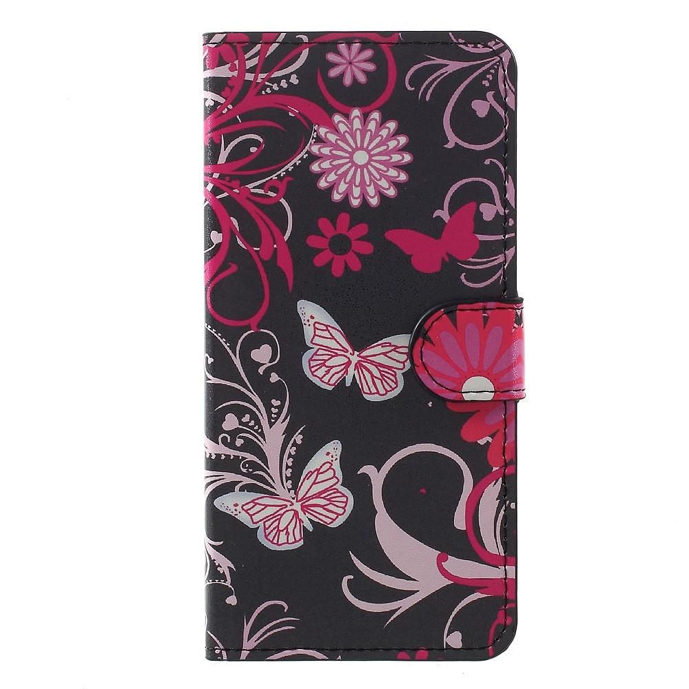 Чехол книжка для Huawei P10 Plus боковой с отсеком для визиток, Butterflies and Flowers