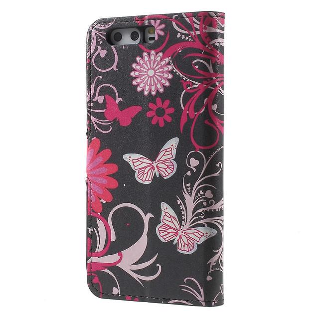 чехол книжка на Huawei P10 plus Butterflies and Flowers