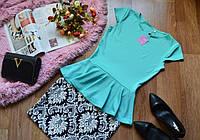 Костюм летний  кофта-баска+ юбка красивым орнаментом (7 цветов)