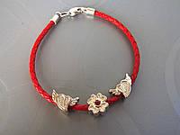 Браслет кожаный плетеный в стиле Pandora - Клевер + сердечки (3.0 мм, красный)