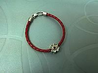 Браслет кожаный плетеный в стиле Pandora - Клевер с камнями (3.0 мм, красный)