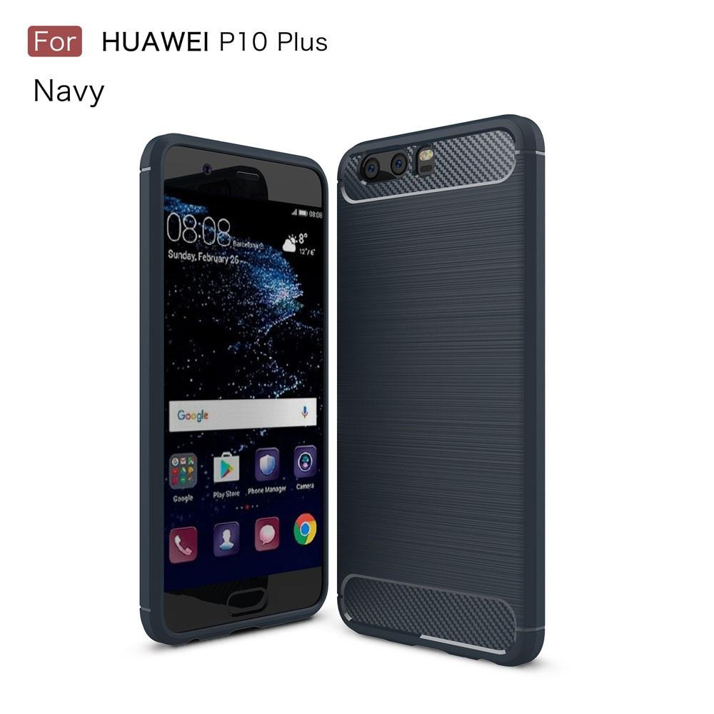 Чехол накладка для Huawei P10 Plus силиконовый, Carbon Fibre, темно-синий