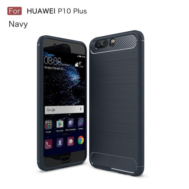 чехол накладка на Huawei P10 plus Carbon Fibre темно-синий