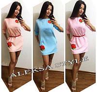 """Платье модное мини с вышивкой """"Роза"""" креп-костюмка разные цвета SMa1443"""