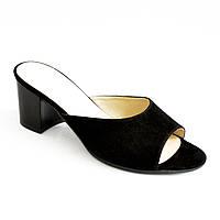 Шлепанцы женские замшевые черные на устойчивом каблуке