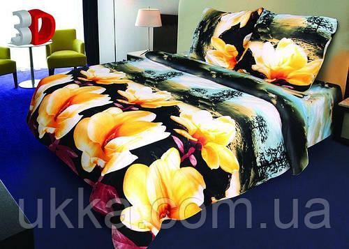 Полуторное постельное белье 3Д Микросатин Буэно