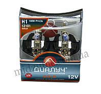 Лампа головного света H1 DUO 12V 100W P14,5S  Gold (комплект 2 шт.)
