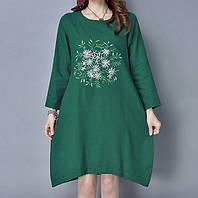 Зеленое льняное платье с длинным рукавом