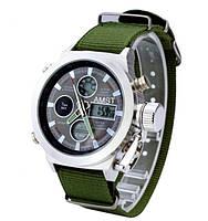 Часы мужские наручные AMST Biden+фирменная коробка в подарок nylon green-silver-black