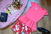 Костюм летний  кофта-баска+красная  юбка принт магнолия (3 цвета)