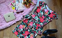 Костюм летний  кофта-баска+ юбка яркий цветочный принт
