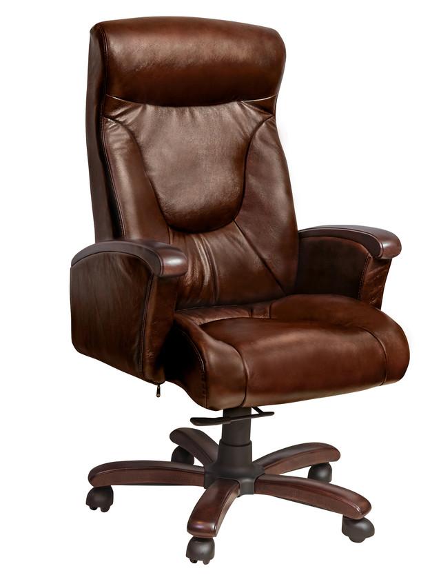 Кресло Галант ПМК механизм  DT (орех) Кожа Люкс комбинированная Темно-коричневая. Арт.038363.