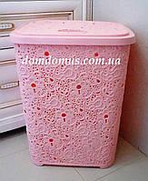 """Корзина для белья """"Ажур"""" 67 л  Elif Plastik, Турция, розовый"""