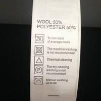 Этикетка накатанная 25мм (составник) Wool 50% Polyester 50%  (100 метров)