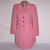 Костюм женский деловой розовый, р. 44-46 с удлиненным пиджаком