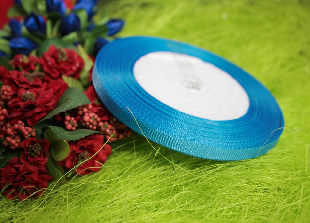 Лента репсовая голубая бирюза 6 мм, 23 м