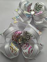 Американский бант белый Радуга на подарок дочке, фото 1