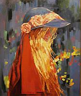 """Картина на холсте """"Девушка в синей шляпе"""""""
