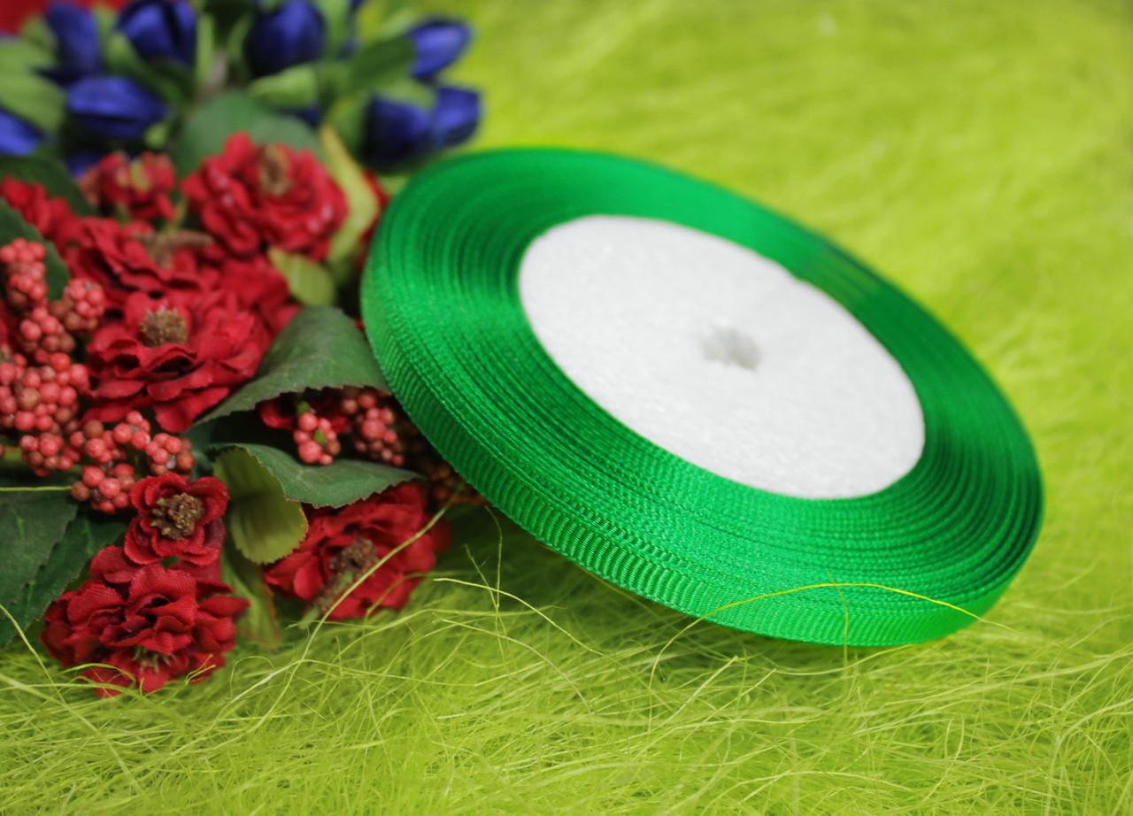 Лента репсовая зеленая 6 мм, 23 м